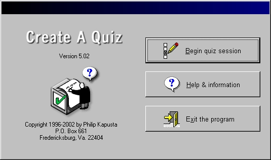 Make and distribute your own online quizzes with Create A Quiz software for Microsoft Windows